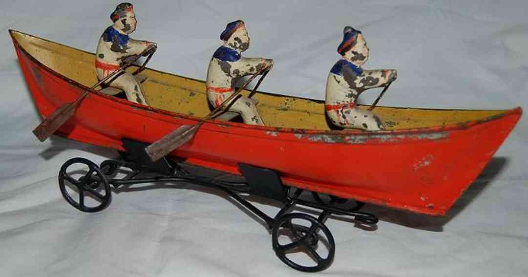 blech spielzeug schiff ruderbott mit 3 figuren