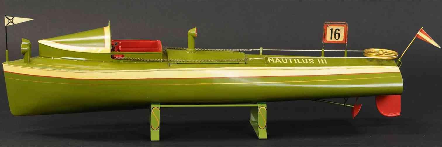 tin toy nautilus III speed boat clockwork driven german manufacturer