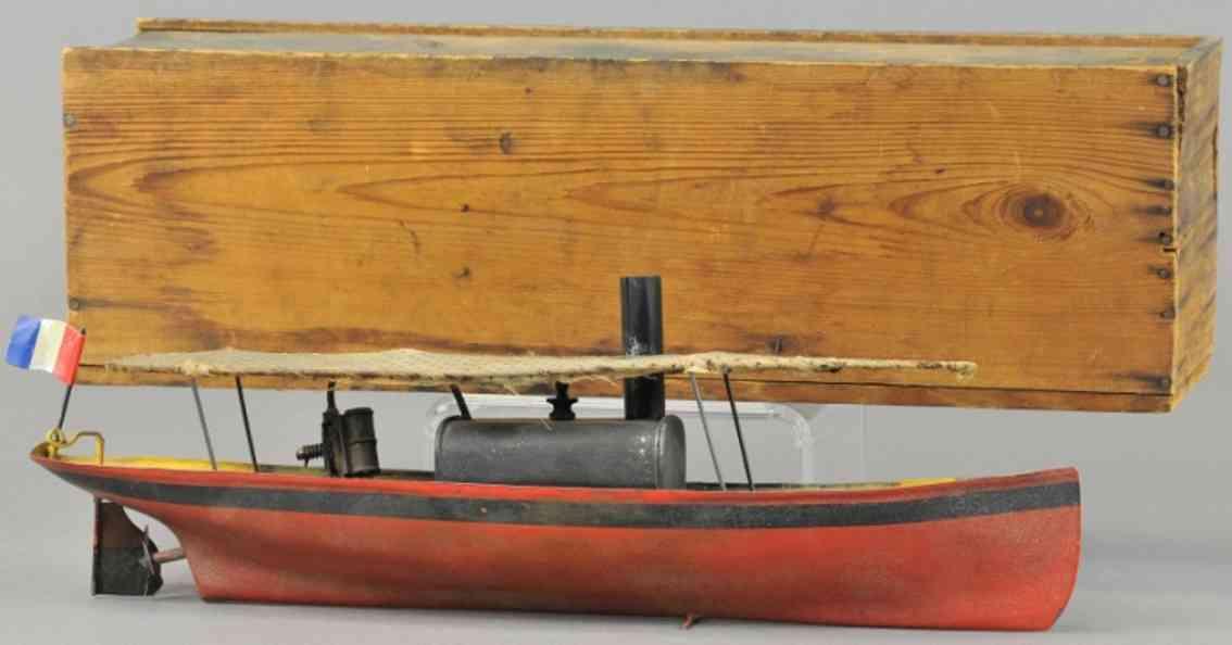 blech spielzeug schiff dampfbarkasse flussboot baldachin