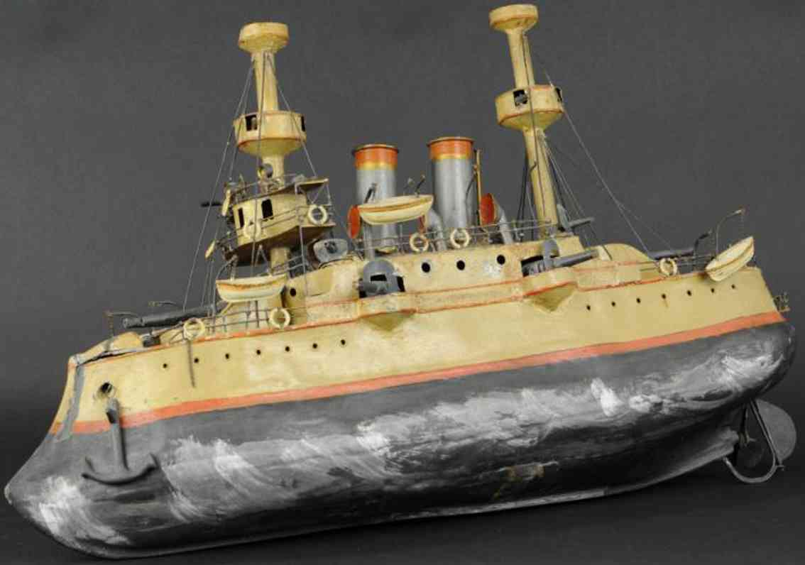 unknown Battleship (76) tin toy large battleship, made in france,  the bulbous hull is hand
