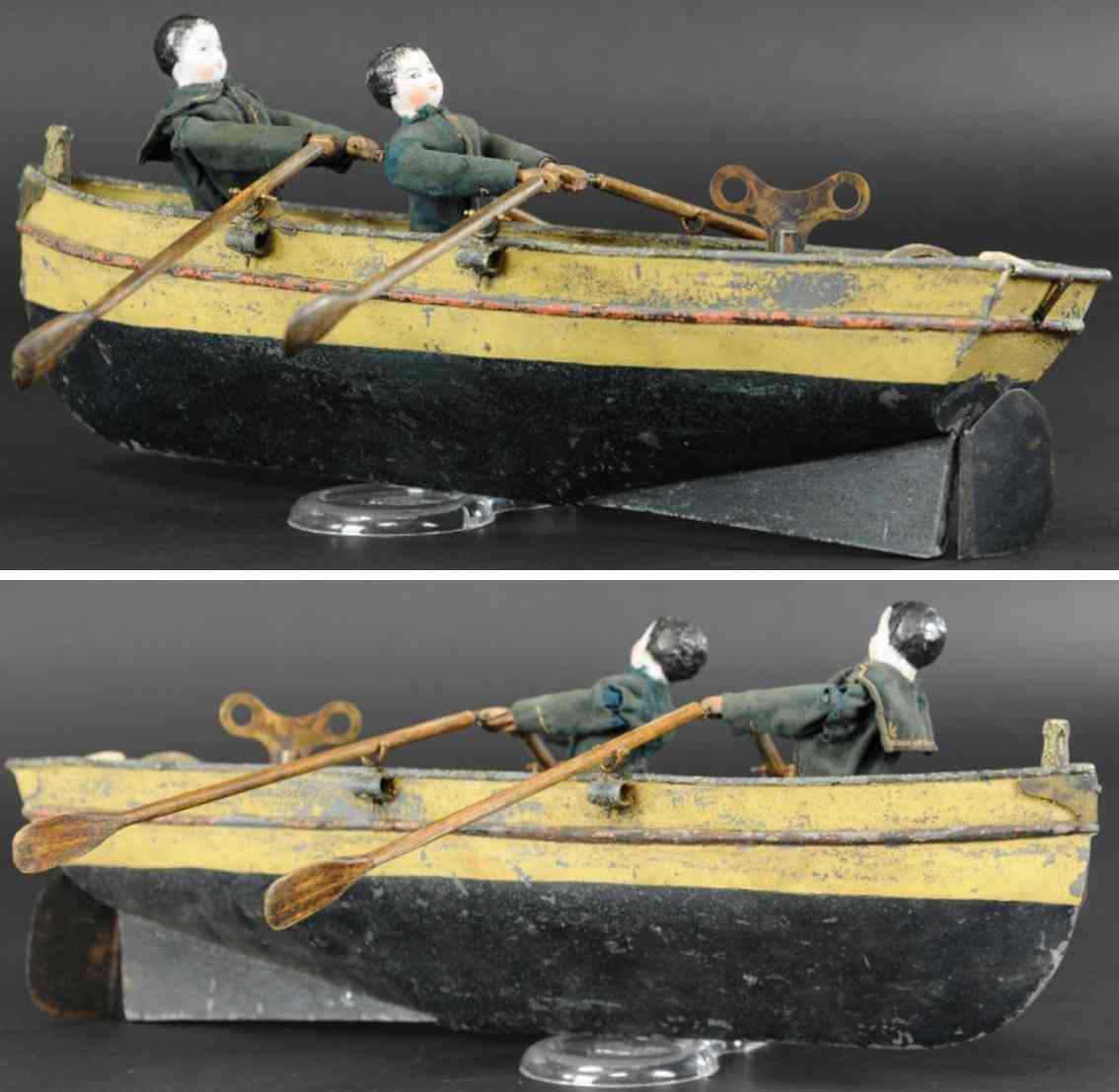 blech spielzeug ruderboot zwei figuren porzellankopf