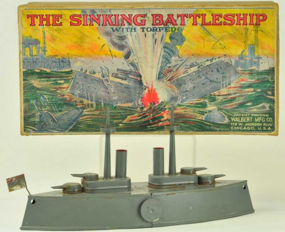 walbert mfg co tin toy ship the sinking battleship