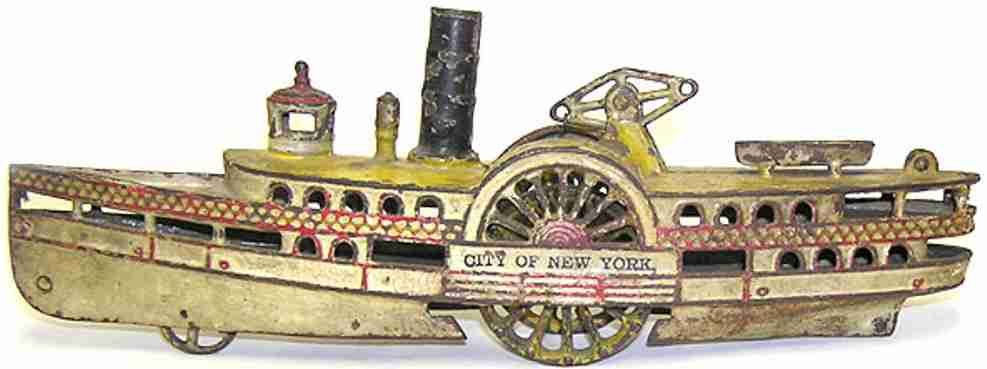 wilkens cast iron toy ship city of new york paddle boat