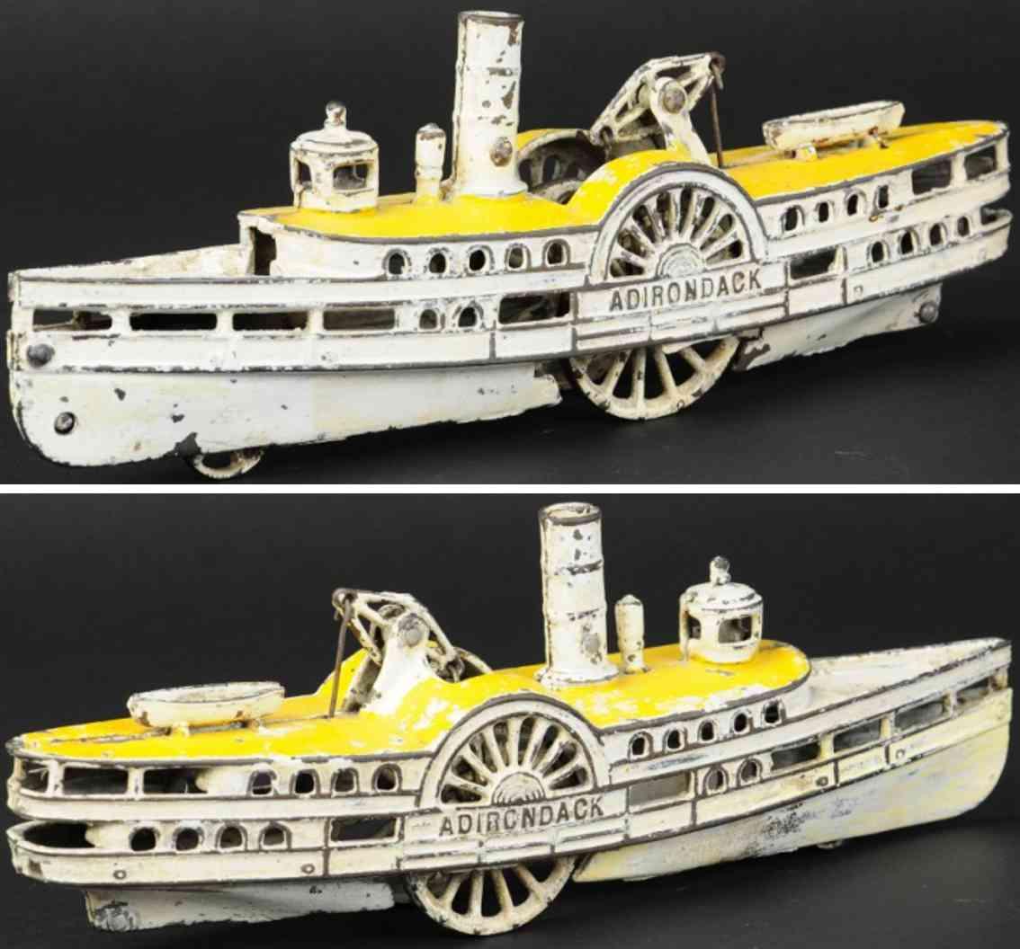 wilkins cast iron toy paddle wheeler adironadack white yellow