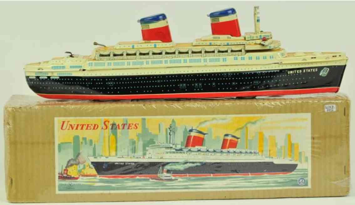 yonezawa tin toy ship battery operated ocean liner united states