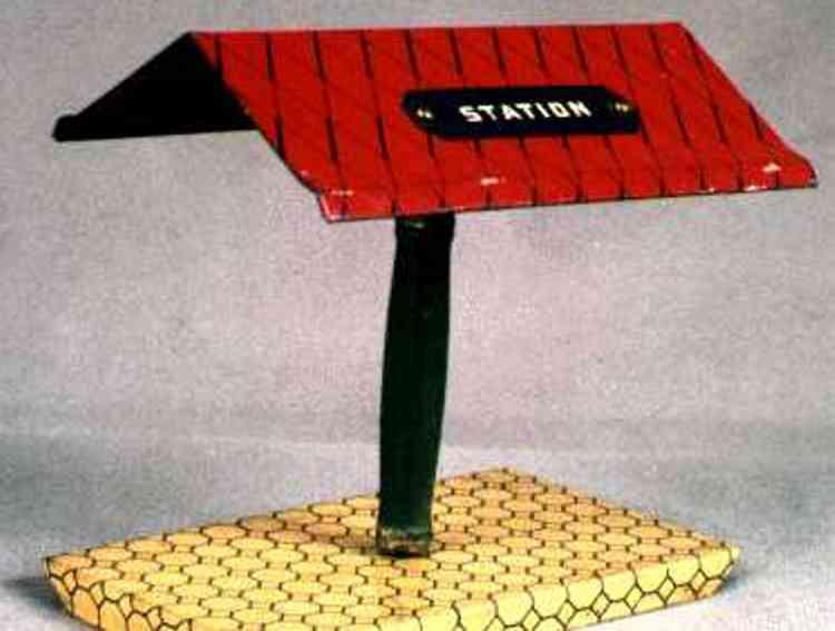 ives 118 spielzeug eisenbahn schild sockel mit mast und dach mit schwarzer platte und aufschrift