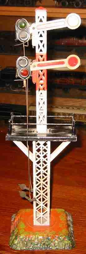 bing 10/698 spielzeug eisenbahn signal etagensignal auf vierecksockel, weißer gittermast mit schwar