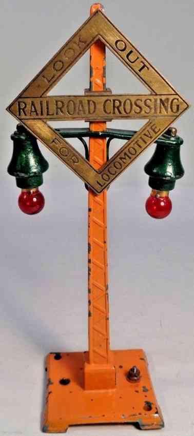 dorfan 416 or 1416 railway toy crossing flasher signal orange brass
