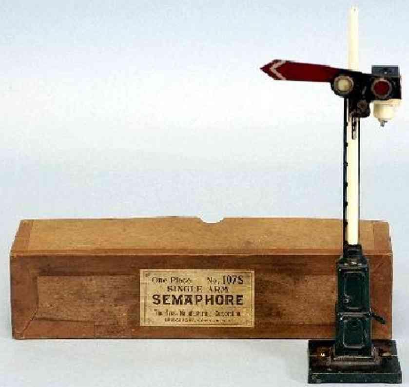 ives 107S (1920) spielzeug eisenbahn signal hauptsignal mit gußeisernem, quadratischem sockel