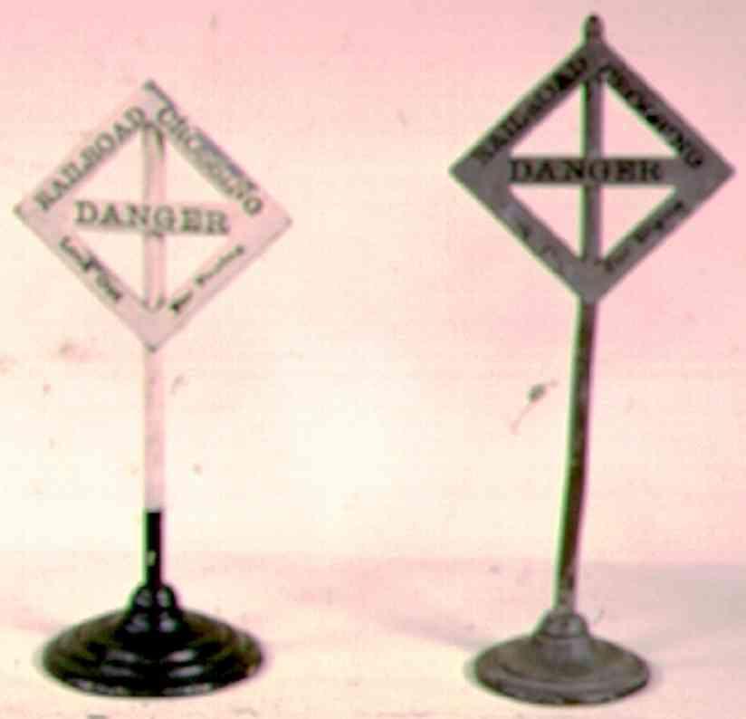 ives 111 (1912) spielzeug eisenbahn signal straßenkreuzngsschild mit rundem sockel, spätere versionen h