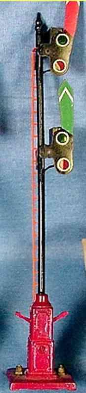 ives 1865 spielzeug eisenbahn signal hauptsignal mit 2 flügeln und licht hinter der linse, rotem