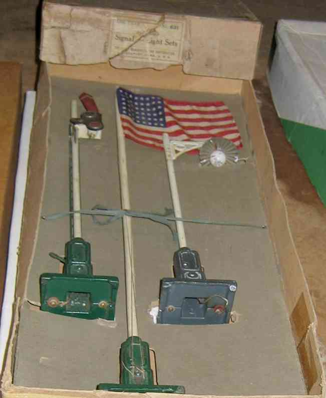 ives 631 railway toy signal signal accessory kit with light 306, signal 300 and flag pol