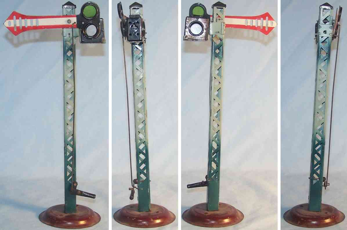 kraus-fandor railway toy one-wing signal with lamp and lattice mast