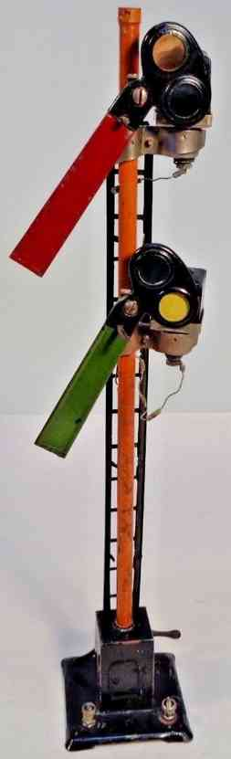 lionel 66 spielzeug eisenbahn signal doppsignal #66, beleuchtet, kappe des holzpfostens fehlt, an