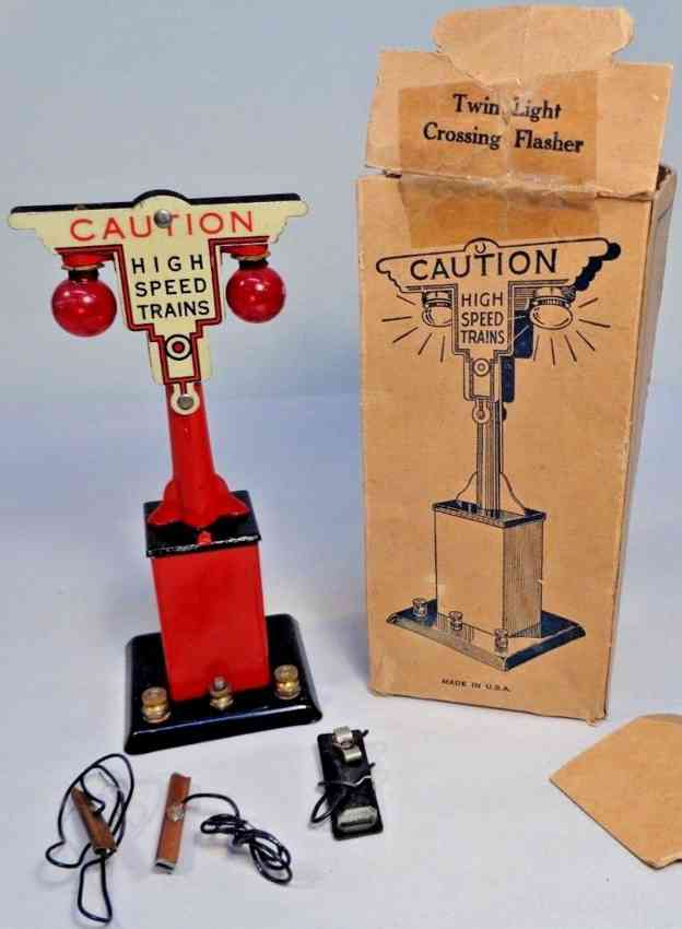marx louis 409 railway toy signal twin light crossing flasher