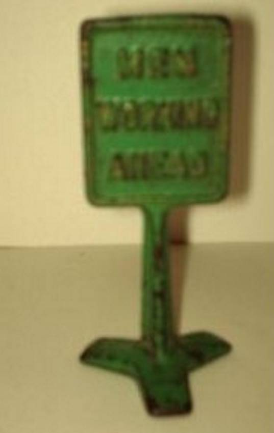 arcade cast iron toy road sign men working ahead