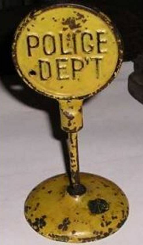 arcade cast iron toy road sign police departement