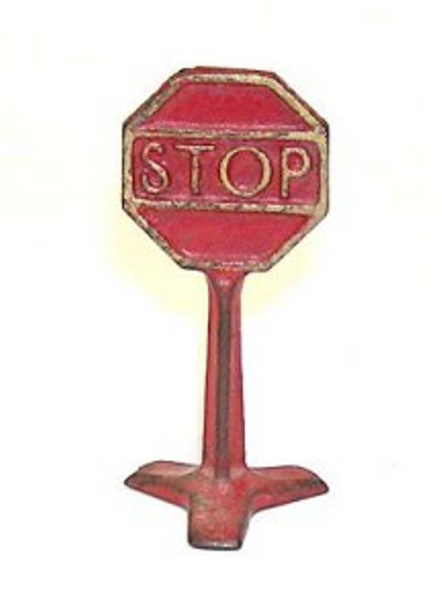 arcade cast iron toy road sign stop