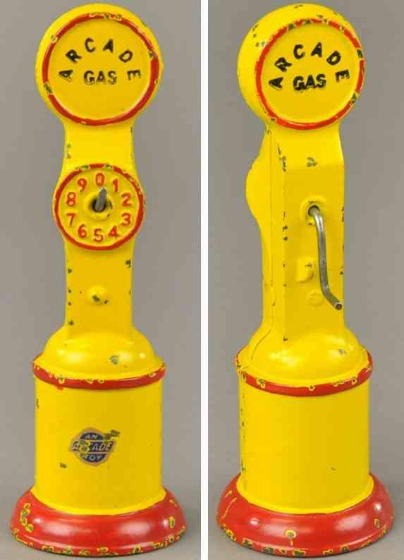 arcade spielzeug gusseisen benzinpumpe rot gelb
