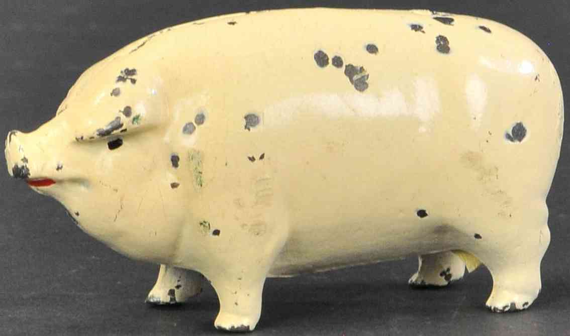 arcade cast iron toy small painted pig still bank white
