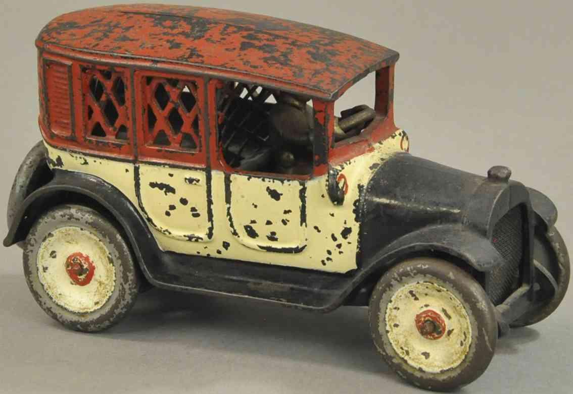 arcade cab spielzeug gusseisen taxi als spardose rot weiss schwarz