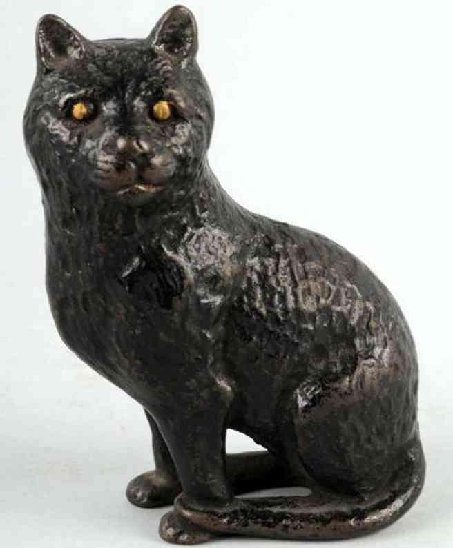 arcade cast iron toy seated cat still bank black