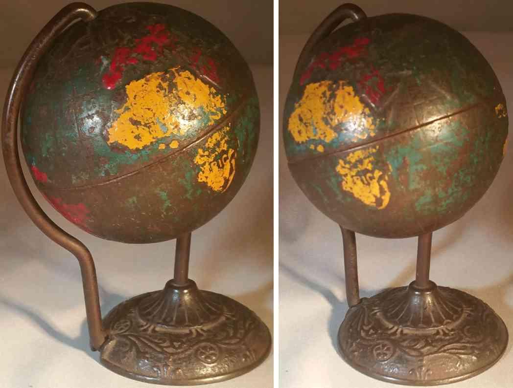 arcade spielzeug gusseisen spardose globus auf sockel