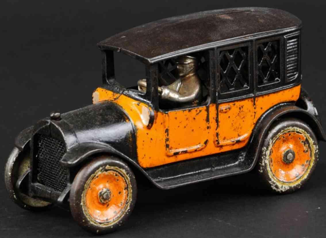 arcade spielzeug gusseisen spardose taxi orange schwarz