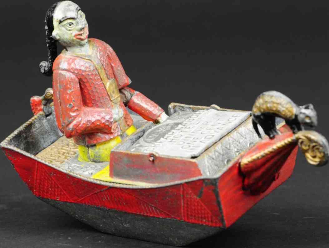 bailey charles spielzeug gusseisen chinese im ruderboot als spardose