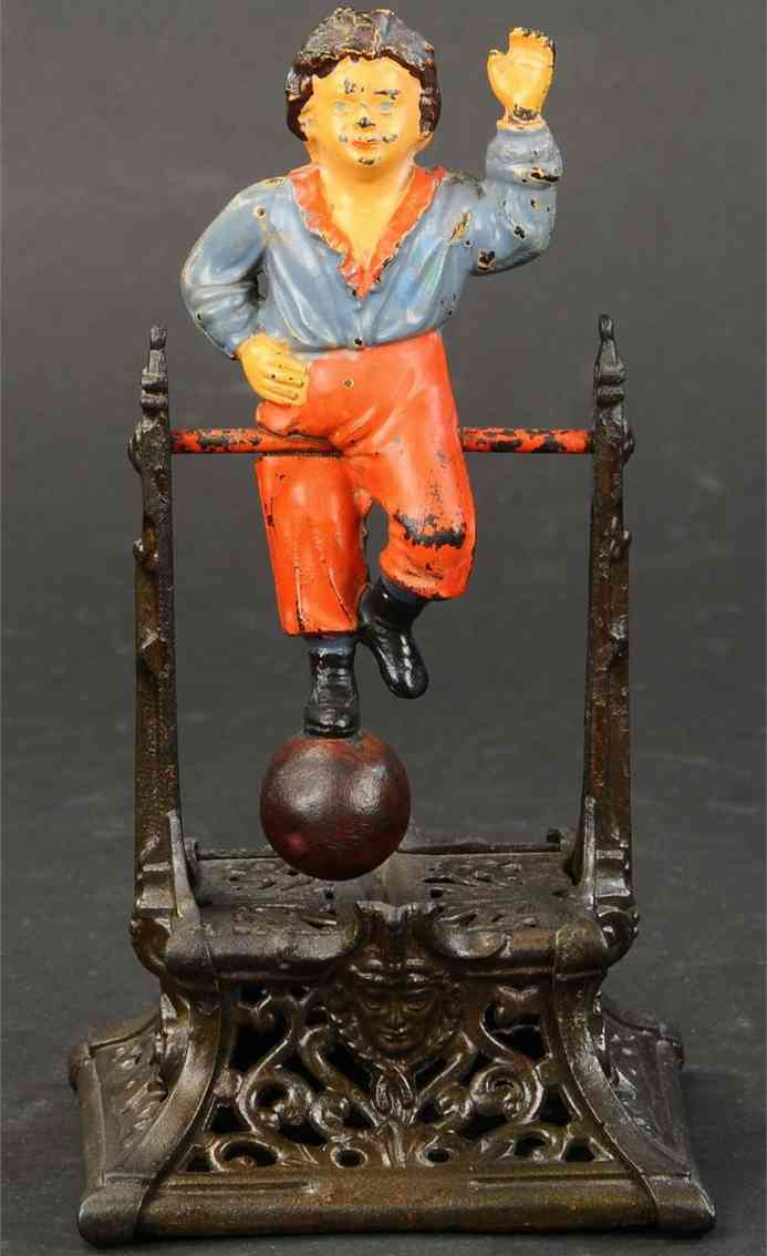 barton j and smith co cast iron toy boy on the trapeze mechanical bank