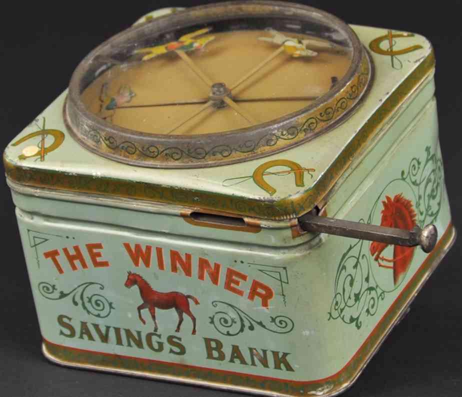 berger & medan mfg co tin toy the winner savings mechanical bank
