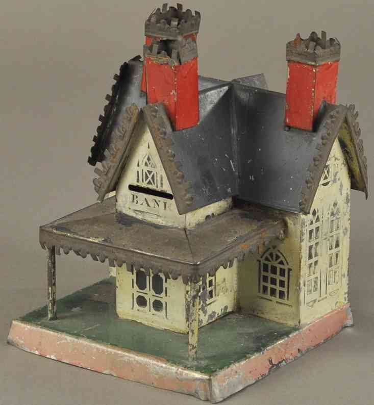 brown george blech spielzeug spardose cottage drei kamine