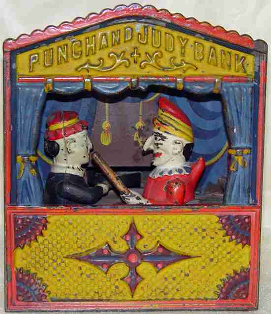 buffalo toys cast iron toy punch and judy mechanical bank