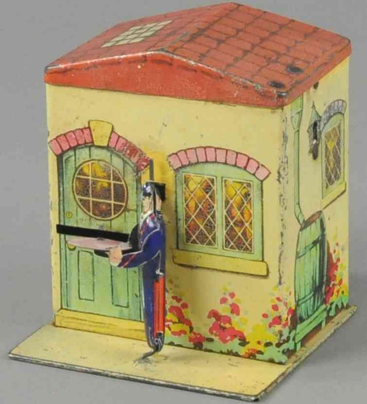 burnett ltd tin toy mechanical bank postman as bank