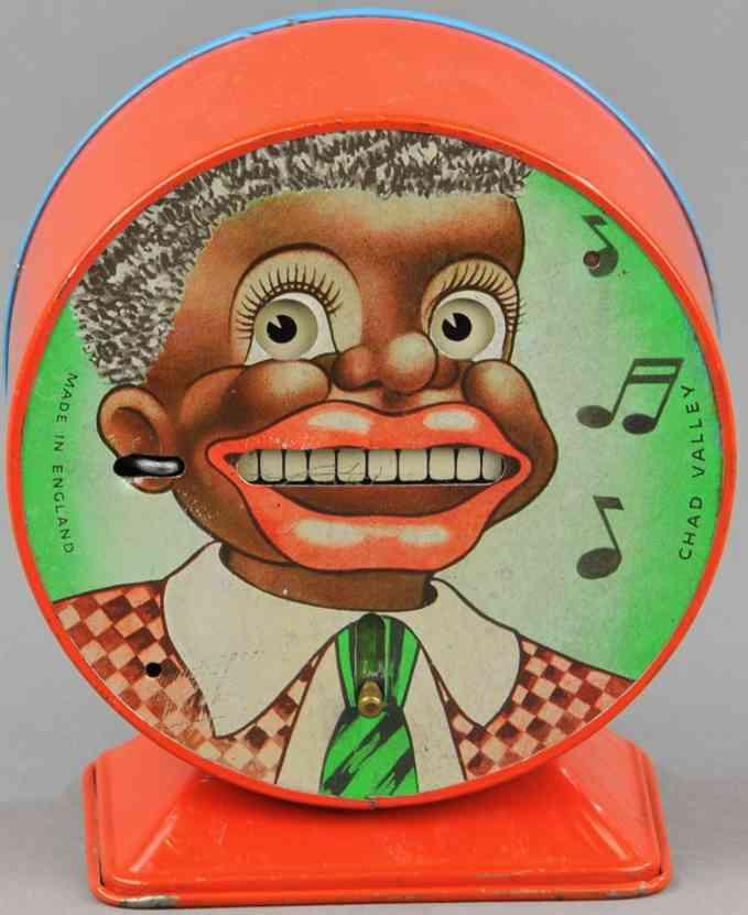 chad valley co ltd tin toy mechanical bank minstrel