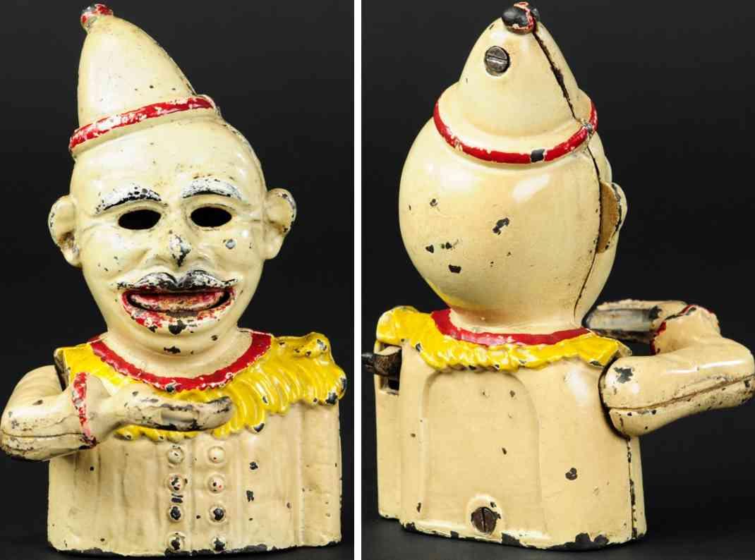 chamberlin & hill spielzeug gusseisen englischer clown als spardose