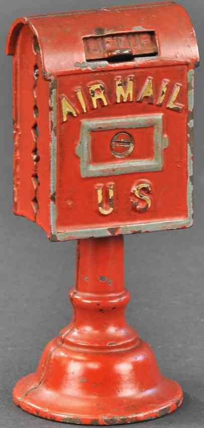 dent hardware co cast iron toy airmail bank on base still bank red