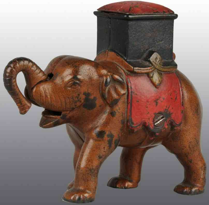 enterprise manufacturing co cast iron toy elephant howdah mechanical bank
