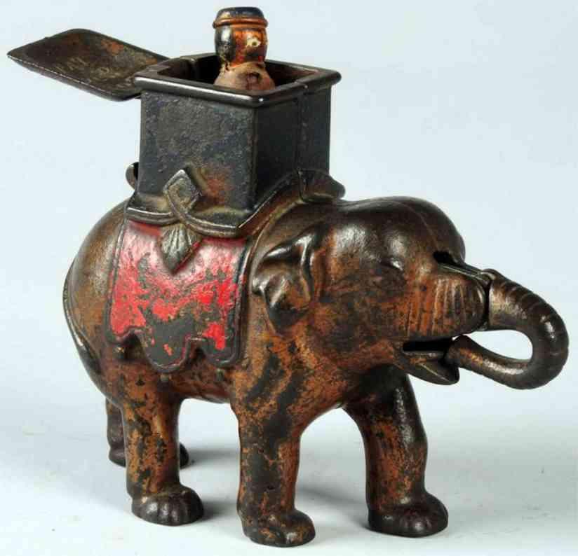 enterprise manufacturing co cast iron toy elephant howdah mechanical bank