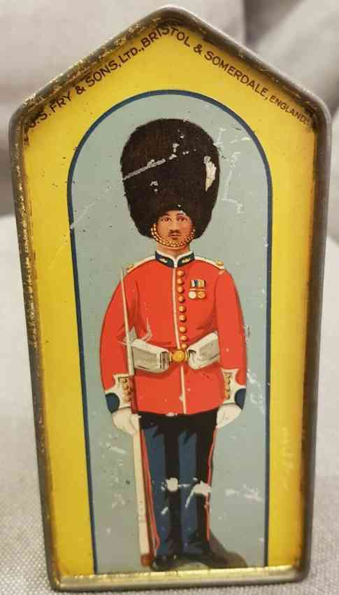 js fry & sons tin toy figural sentry money box biscuit and savings bank
