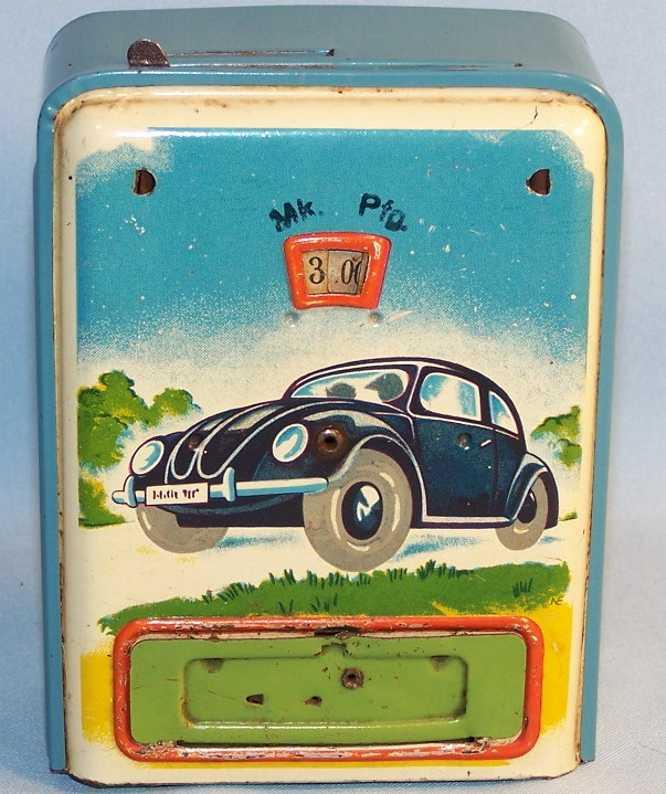 geobra blech spielzeug spardose spardose mit vw-käfer motiv, lithografiert in blau, grün, ge