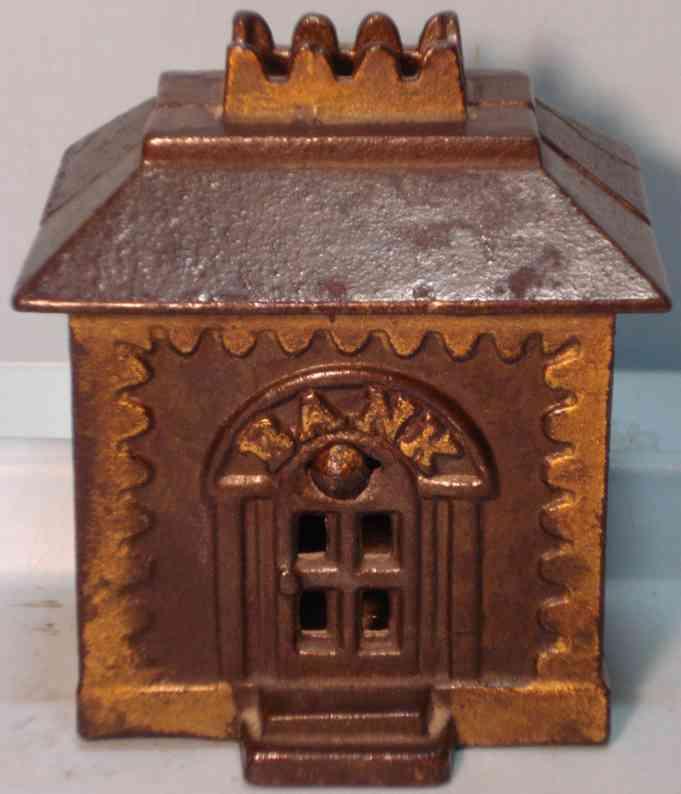 Grey Iron Casting Company Gusseisernes Gebäude mit Krone als Spardose