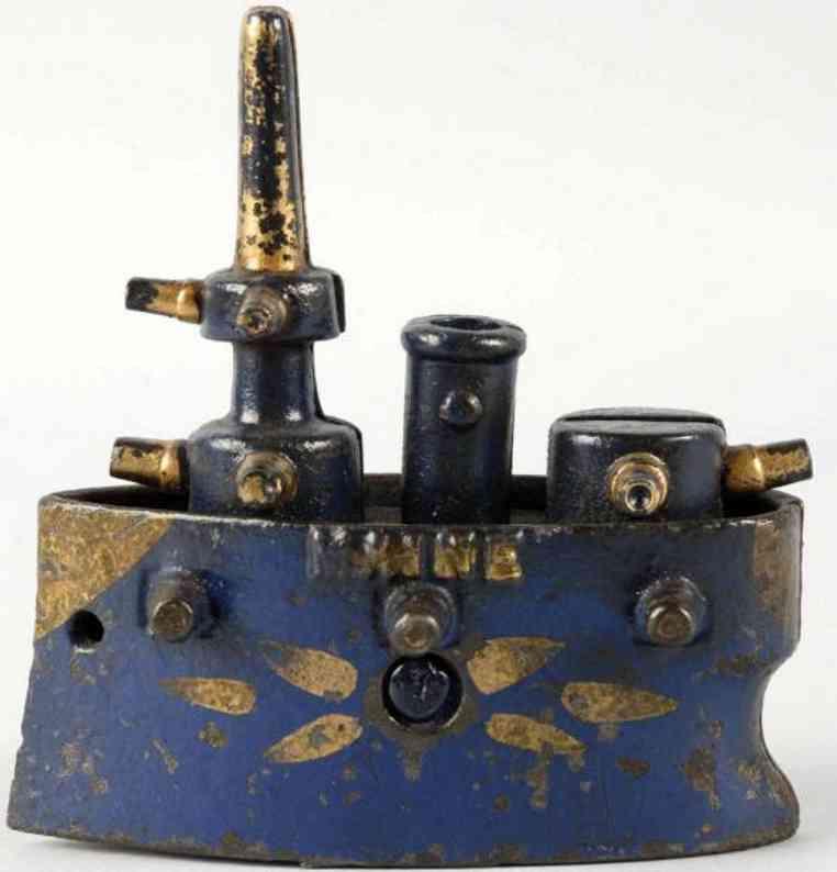 grey iron casting company spielzeug gusseisen spardose kriegsschiff maine blau gold