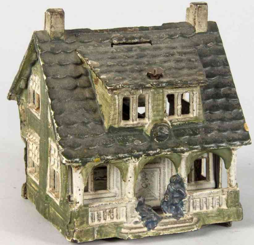 grey iron casting company cast iron toy bungalow still bank cottage with porch
