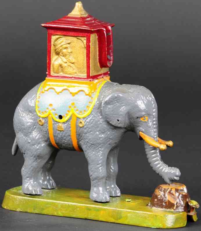 gurney refrigerator co cast iron toy elephant with howday locked mechanical bank
