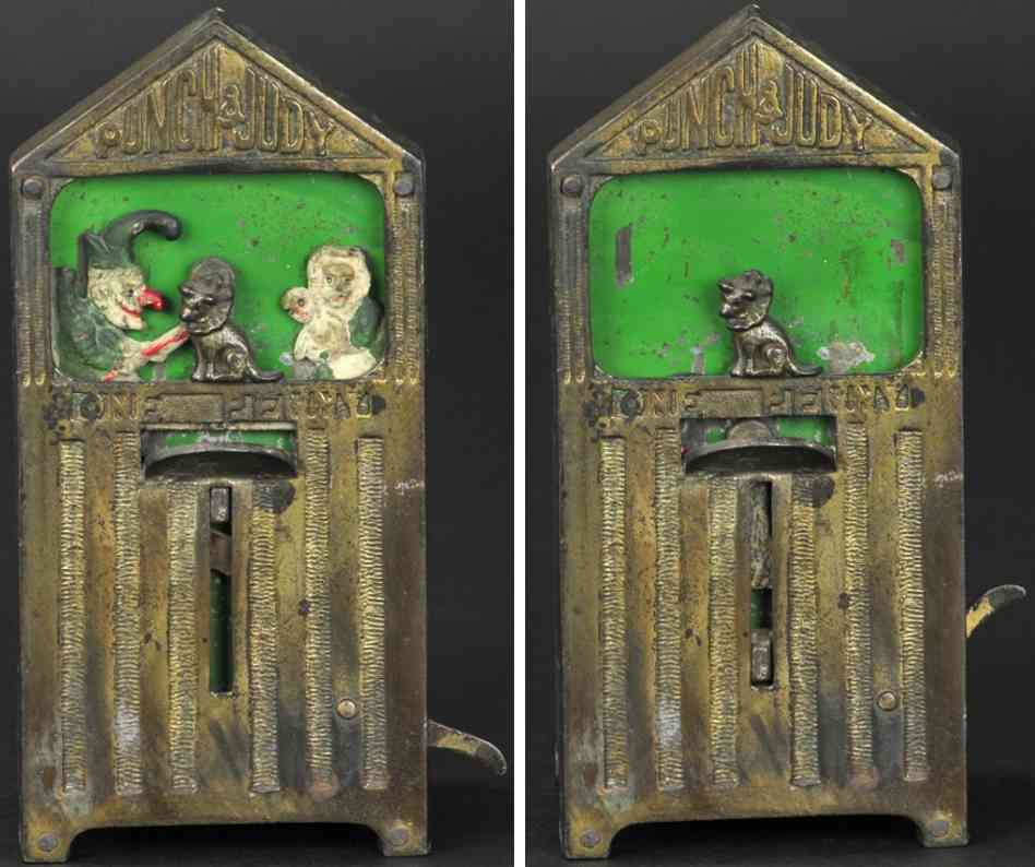 harry james banks & sons ltd cast iron tin toy punch and judy as penny bank