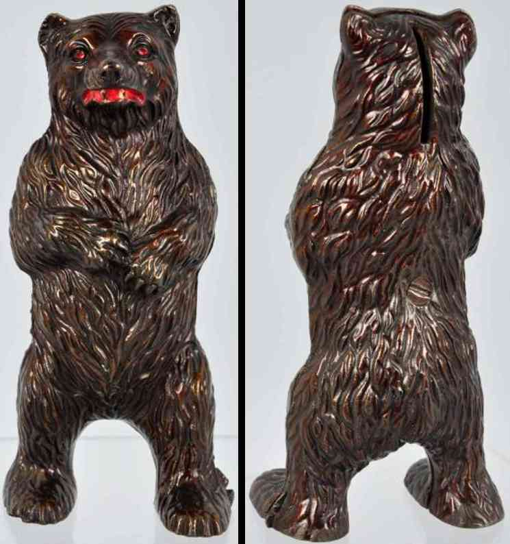 harper co john cast iron toy bear on hind legs still bank