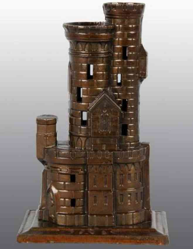 harper co john cast iron toy castle with 2 towers still bank