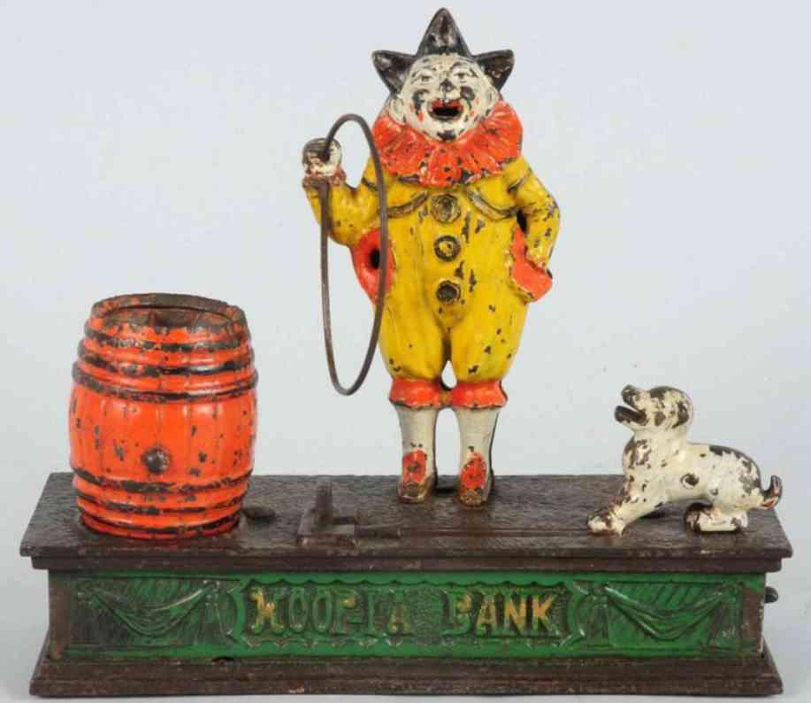 harper co john hoopla gusseisen clown hund fass als spardose