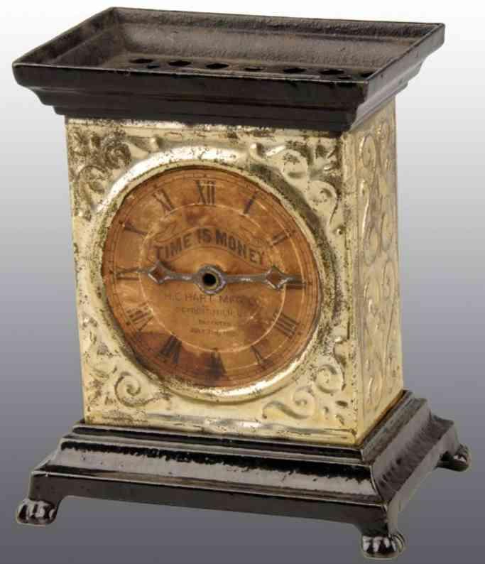 hart company cast iron toy tin clock still bank time is money
